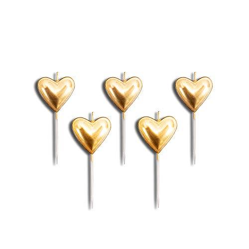 Velas con forma de corazón dorado para decoración de tartas, cumpleaños, bodas, velas elegantes, juego de 5 unidades