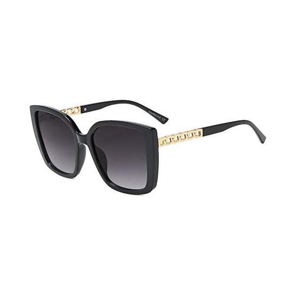 AMOMOMA Retro Vintage Oversized Cat Eye Sunglasses for Women Fashion Outdoor Shades Plastic Frame UV Protection AM2035