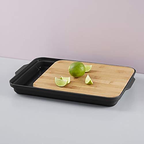 Tabla de cortar con compartimento de almacenamiento 37x24x3,5cm bambú / plástico, tabla de cocina, tabla de madera con bandeja de goteo, color: Negro