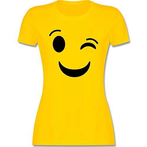 Karneval & Fasching - Zwinker Emoticon Karneval - S - Gelb - Kurzarm - L191 - Tailliertes Tshirt für Damen und Frauen T-Shirt
