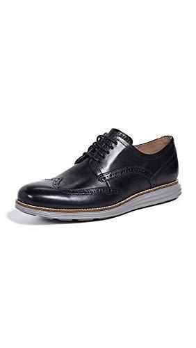 Cole Haan Men's Original Grand Shortwing Oxford Shoe, Black Leather/Ironstone, 12 Medium US