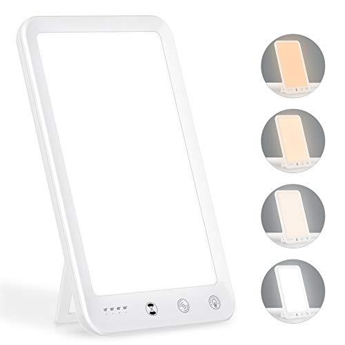 Tageslichtlampe, WELTEAYO 10000 LUX Lichttherapielampe gegen Depressionen mit Memoryfunktion Timer, Simuliertes Tageslicht, Lichtdusche mit 4 Lichtfarben und 5 Stufenhelligkeit, UV-freie LED