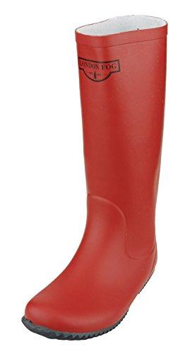 LONDON FOG Women's Britney Rain Boots (38, Red)