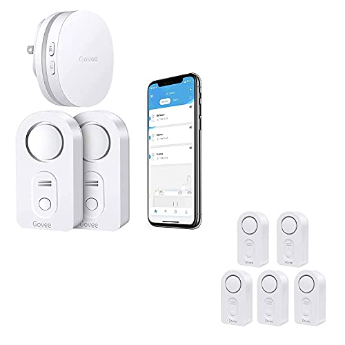 Govee Water Detectors 5 Pack Bundle with WiFi Water Sensor 2 Pack, 100dB Adjustable Alarm and Smartphone App Notifications, Water Leak and Drip Alerts by Email, Water Detector for Home Bedrooms