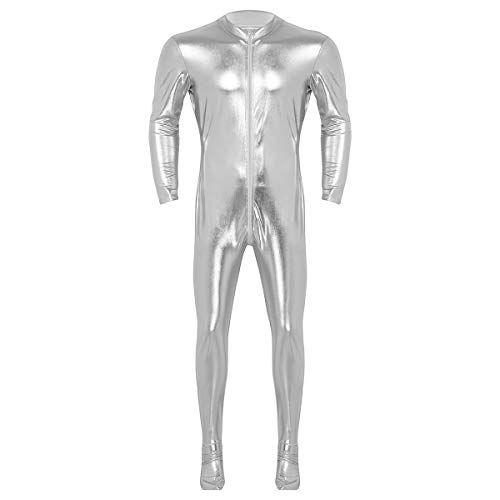 Agoky Herren Wetlook Bodysuit Slim Fit Ganzkörperanzug Metallic Jumpsuit Overalls Langarm Top und Strumpfhose Lange Leggings sexy Kostüm Silber X-Large