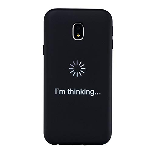 LeviDo Funda Compatible para Samsung Galaxy J5 2017 Silicona Case Motivo Dibujos One Piece Carcasa Ultrafina Slim Goma Antigolpes TPU Bumper Resistente Negro Cover, I'm Thinking