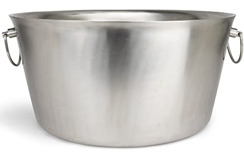 Stainless Steel Insulated Beverage Tub - Real Deal Steel, Large 6 Gallon Round Double Walled Party Tub, Drink Bucket for Parties, Ice Tub Cooler for Wine & Beer