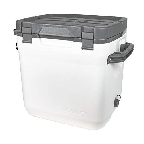 Stanley Adventure Outdoor Cooler Camping, Doppelwandige Schaumisolierung | BPA-frei |Deckel fungiert auch als Sitz | Robuste Kühlbox ohne Strom | Auslaufsicher, Polar White, 28.3 L