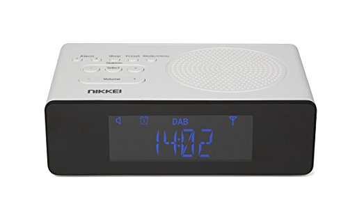 Nikkei NRDB15WE Digitale wekker, wekkerradio, DAB+, lcd-display, automatische instelling van zenders en dubbele wektijd, wit/zwart
