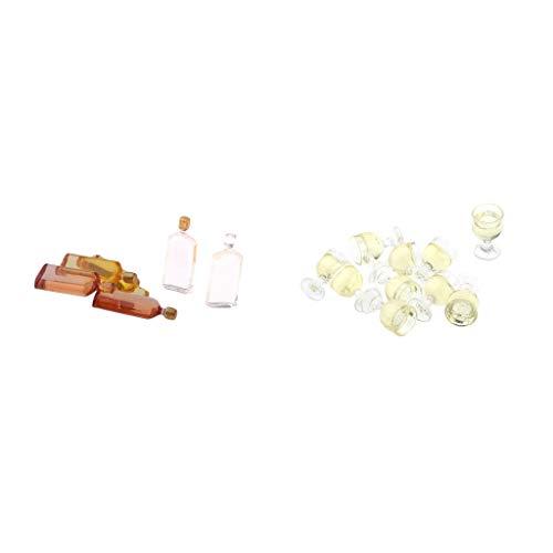 sharprepublic 16 Piezas 1/12 Dollhouse Bar Set Botellas de Whisky Y Copas de Vino Accesorio para La Habitación