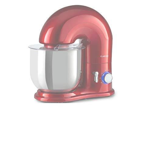 Klarstein Delfino - Batidora de pie, 6 niveles de potencia, Función pulso, Agitador planetario, Batidor de acero inoxidable, Protector salpicaduras, Cuenco acero inoxidable 7 L, 1800W, Rojo claro