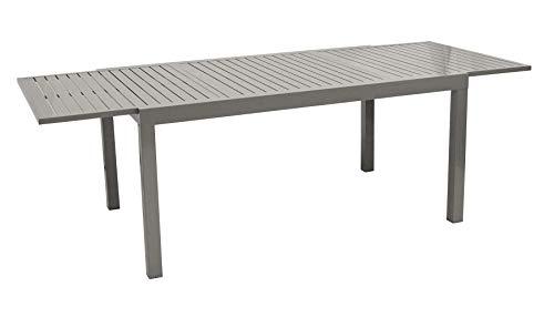 DEGAMO Ausziehtisch 160/240x100cm, Aluminium Silbergrau, wetterfest