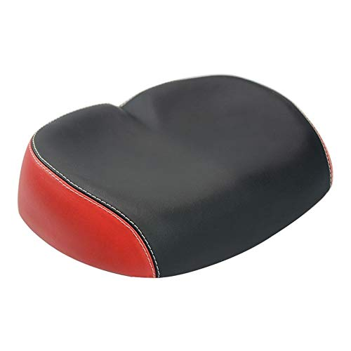 Frieed De Ancho Asiento de una Silla Grande de Bicicletas Comfort Deportivo Suave cojín de la Silla de Montar Bicicleta de montaña Durable (Color : Black Red)