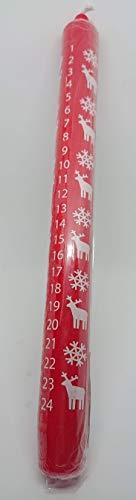 Sigro Advent Kerze mit Elch Motiv, 2,2x 25cm, Wachs, rot, 2,2x 2,2x 25cm