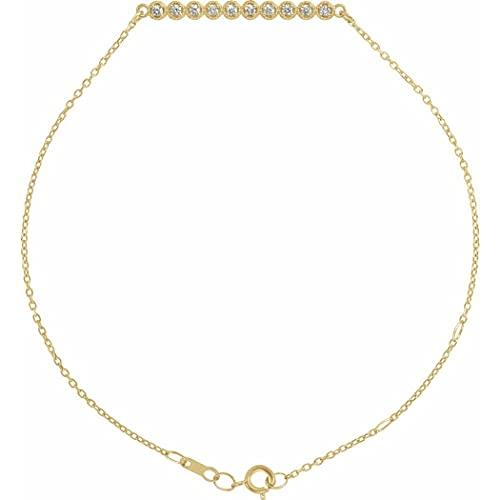 Oro amarillo de 14 quilates diamante 25,4 x 2,62 mm 6 1/2 7 1/2 pulgadas I1 G h pulido 0,13 quilates barra de diamante pulsera joyería regalos para mujeres