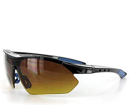 Aloha Eyewear Daredevil Mode Bifokalwillen Sonnenbrille mit Wrap-Around Sports Design und Anti-Glare Beschichtung für Junge und Aktiv 3 70 3 Schwarz und Blau W/Bernstein Objektiv