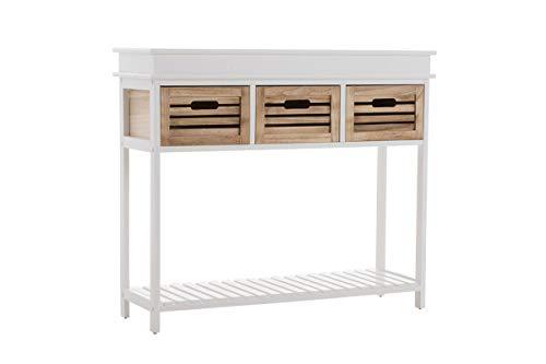 CLP Mueble Aparador Recibidor Bartolome I Consola Cajonera 85 x 100 x 32 cm I Mesa De 2 Niveles con 3 Cajones, Color:Blanco