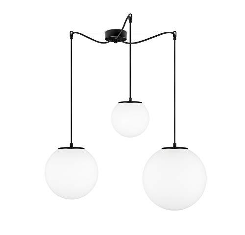 Sotto Luce Tsuki Mix Pendelleuchte, 3-flammig, mit Lampenschirmen aus Opalglas, Textilkabel und 3 Lampenfassungen E27, Kugeln aus Glas, moderner Stil, 72 W, mattweiß / schwarz / schwarz