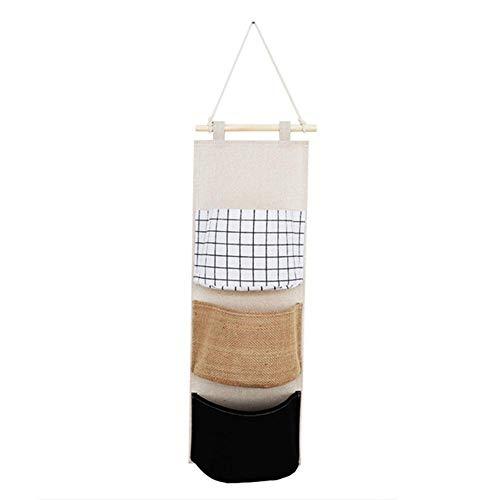 Poetance Colgador Puerta 1 Pieza Bolsa de Almacenamiento Colgante, Bolsa de Almacenamiento para algodón y Lino con 3 Bolsillos 19 * 58,5 cm