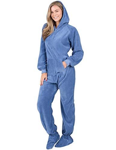 Footed Pajamas - Under The Sea Adult Hoodie Chenille Onesie (Adult - Large Plus/Wide (Fits 5'11-6'4')) Blue