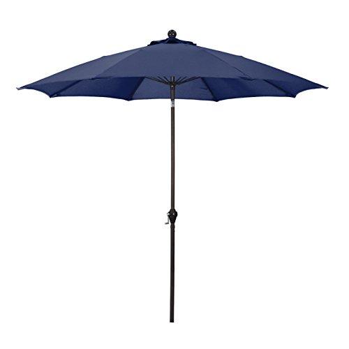 California Umbrella 9' Round Aluminum Pole Fiberglass Rib Umbrella, Crank Open, Push Button 3-Way Tilt, Bronze Pole, Navy Blue