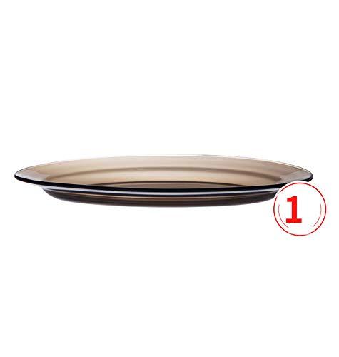 HHXWU Vaisselle Bol à Riz Assiettes Assiettes Bols en Verre Bols à Fruits Bols à Salade Grandes Assiettes, Marron 36cm