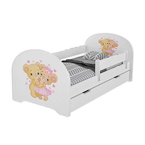 MEBLEX Lit pour enfant avec tiroirs et matelas en mousse de sécurité 160 x 80 cm pour chambre à coucher avec cadre de lit complet en MDF et tête de lit intégrée