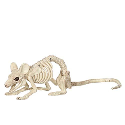 Mrncw Halloween Dekoration Haunted House Simulation Katzenfrosch Tierknochen Kopf Regal Terror Bar Filmrequisiten - Drilling Hamster 25Cm
