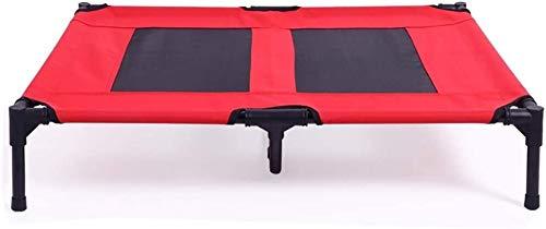 UIZSDIUZ Haustierbett Hundebett Ineinander greifen Erhöht Kühl Haustier, Sturdy Durable Lounge Sofa mit Metallrahmen, for Innen Balkon Wohnzimmer Katzenbett (Color : Red, Size : XL(122×91×17cm))
