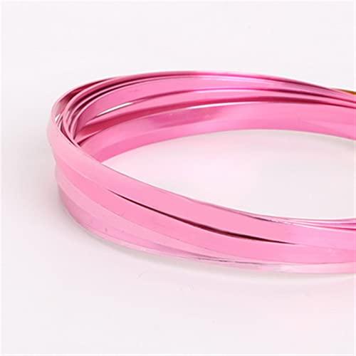 HLH Alambre plano de aluminio, artesanía de aluminio para hacer collares y pulseras, joyería de 5 mm x 1 mm (color: fucsia)