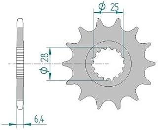 AFAM Ritzel Teilung 520 Zähne 14 für Yamaha YFM 700 RA Raptor, Bj. 2011   Maße Welle: 25/28mm   Höhe/Versatz: 6,4mm
