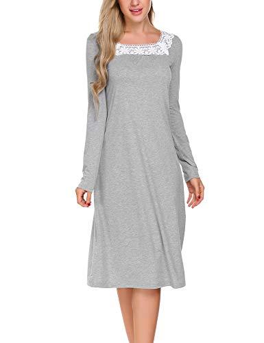 ADOME Damen Nachthemd Sleepwear Langarm A-Linie Casual Nachtkleid Nachtwäsche lang Spize Ausschnitt Herbst Unterkleid, Grau, EU 36(Herstellergröße:S)