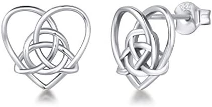 FANCIME Sterling Silver Irish Celtic Knot Love Heart Earrings Pendant Necklace Small Earrings product image