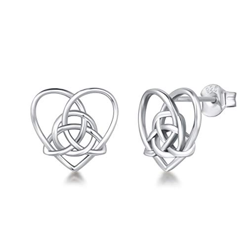FANCIME Sterling Silver Irish Celtic Knot Love Heart Earrings/Pendant Necklace Small Earrings Triangle Vintage Dainty Fine Jewelry Set Gifts for Mom Women Teen Girls