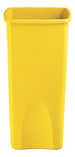 Rubbermaid Commercial Products Untouchable Square Trash/Garbage Can, Yellow (2018373)