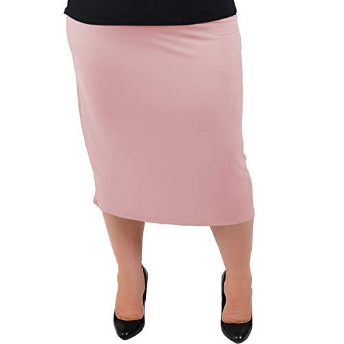 Stretch is Comfort Women's Plus Size MIDI Skirt Light Mauve 3X