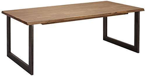 Ibbe Design Rechteckig Ausziehbar Esstisch 180x90 Natur Baumkante Massiv Akazie Holz Esszimmer Tisch Mallorca, 180x90x75 cm