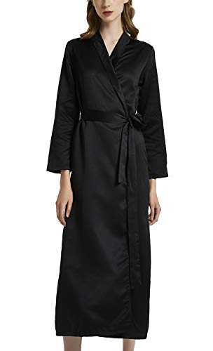 Aivtalk Robe de Nuit Satin Femme Longue Élégante Peignoirs de Bain Mariage Chemises de Nuit Noir Taille M