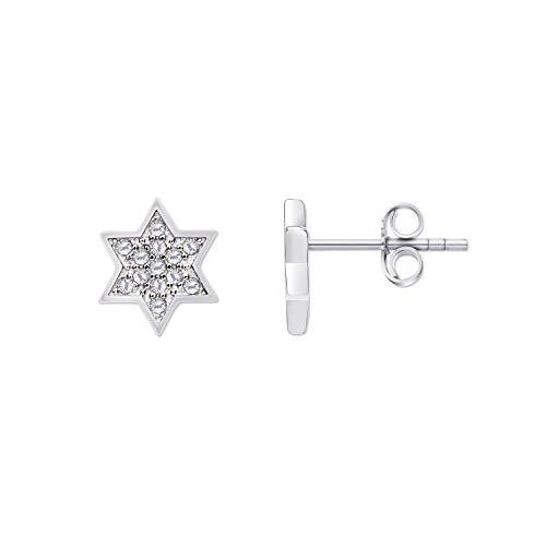 Pendientes de estrella para mujer, niña, plata de ley 925, piedras de circonita y acabado de rodio, 9 mm de diámetro, cierre de mariposa, regalo de boda, cumpleaños, día de la madre, Navidad