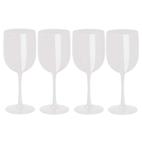 noTrash2003 4er Set Trinkkelch aus Kunststoff für Sekt, Wein und Champagner od. Longdrinks in versch. Farbkombinationen für Events und Feiern (Weiß)