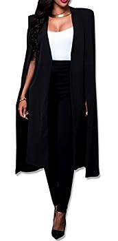 Women Casual Open Front Cape Cloak Trench Duster Coat Longline Blazer Suit Coat Black L/Tag XL