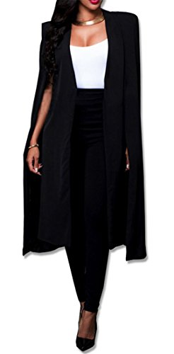 Women Casual Open Front Cape Cloak Trench Duster Coat Longline Blazer Suit Coat Black XL/Tag 2XL