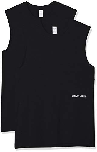 Calvin Klein Muscle Tank 2pk Camiseta sin Mangas, Negro (Black 001), Talla única (Talla del Fabricante: Medium) para Mujer