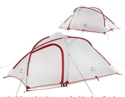 Mdsfe NatureHike New Hiby 3 Man Tent Outdoor 2 Room 3 Person 20D Nylon Silicone Ultralight Family Camping Tent red/gray-20D gray