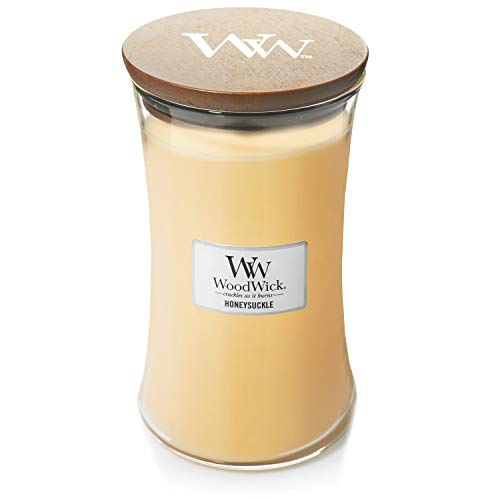 WoodWick Scented Candle with Pluswick Innovation, Paraffin Honeysuckle, Large Hourglass
