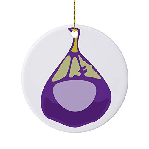 qidushop Novelty Christmas Decoration Fruit Set Fig Christmas Ornaments Ceramic Round Christmas Tree Hanging Keepsake 3 Inches