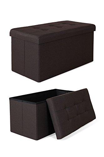 dibea SO00467, Sitzhocker Leinen, Sitzbank faltbar, Aufbewahrungsbox 80 Liter, diverse Farben (76 x 38 x 38 cm, braun)