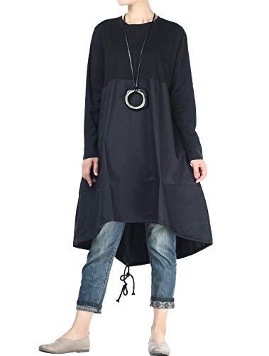 Vogstyle Damen Langarm A-Linie Beiläufige Lose mit Tasche T-Shirt-Kleid Art 3-Schwarz M