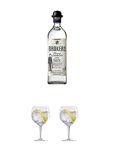 Brokers Premium London Dry Gin 40% 0,7 Liter + Ballon Bistro Cubata GIN Glas 1 Stück + Ballon Bistro Cubata GIN Glas 1 Stück