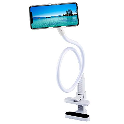 Phone Holder,Stand for Desk,Adjustable Long Arm Universal Gooseneck Smartphone Stand Mount.for 3.5-6.5inch Fit on Bed,Office,Kitchen Desk- White California
